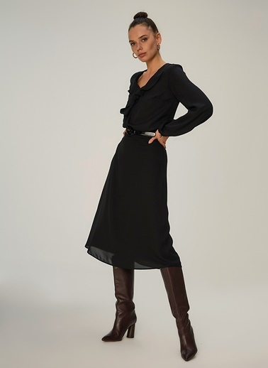 NGSTYLE Volan Detaylı Bluz Siyah